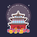 beautiful flowers with iconic building of asia over blue background, colorful design. vector illustration - 211149114