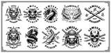 Set of samurai emblems (for white background) - 211160587