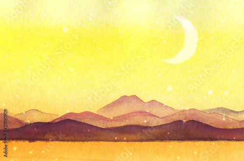 Canvas Zwavel geel Watercolor painted mountain silhouettes
