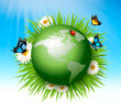 Ecology concept.Green Globe and Grass with Flowers. Vector illustration.