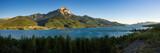 Sunset on Grand Morgon peak, Savines-le-Lac village and Serre-Poncon Lake (panoramic). Hautes-Alpes, European Alps, France - 211175141