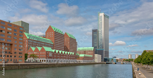 Fotobehang Rotterdam Waterfront with modern houses, residential and office buildings, architecture in Rotterdam along a harbor, Spoorweghaven