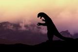 Silhouette eines Godzilla-artigen Monsters in einer Vulkanlandschaft
