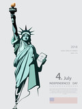 Poster. Green Linear Picture. Independence Day, USA. Statue of Liberty, book. 2018. National Symbol of America. Illustration,gray, background. Use presentations, corporate reports, text, postcards,vec