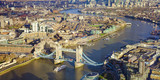 London city, aerial view with Tower Bridge and Thames river