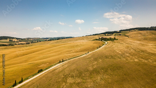 Fotobehang Honing Typical countryside summer landscape in Tuscany, Italy. Road through a wheat field. Aerial view by drone.
