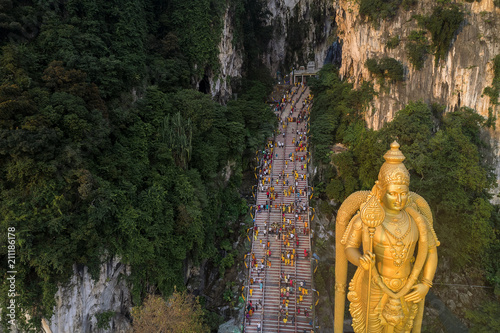 Panoramic aerial view of Batu Caves at sunset on Thaipusam festival evening, Malaysia
