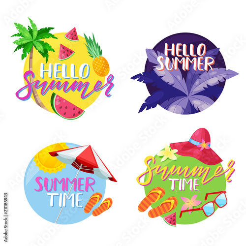 Summer labels, stickers or tags. Hello summer vector circle emblem set. Holiday, travel, beach vacation design elements