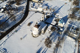 Aerial view of the Church of the Intercession of the blessed Virgin Mary in the village Erino - 211187373