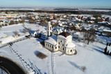 Aerial view of the Church of the Intercession of the blessed Virgin Mary in the village Erino - 211187374