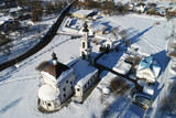 Aerial view of the Church of the Intercession of the blessed Virgin Mary in the village Erino - 211187382