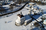Aerial view of the Church of the Intercession of the blessed Virgin Mary in the village Erino - 211187383