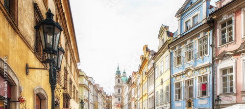 Old, colorful and ornate buildings  at the Old Town in Prague, Czech Republic. - 211187793
