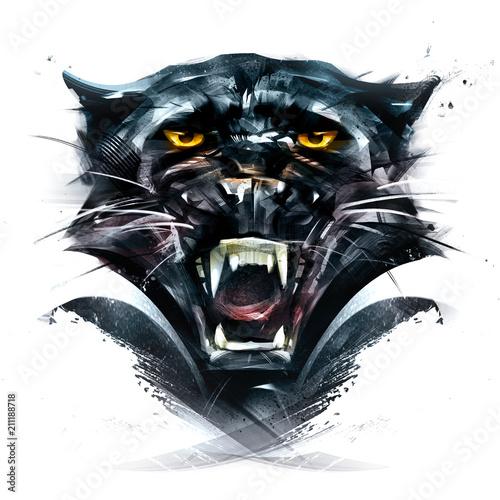 Painted portrait animal panther © khius