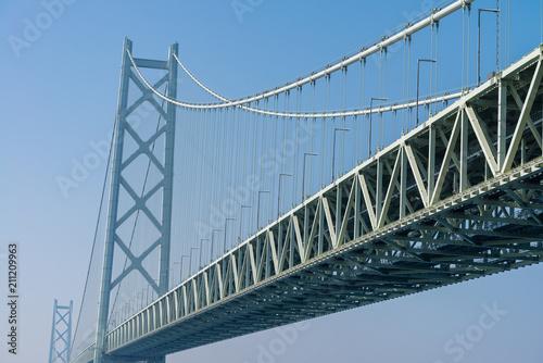 Akashi Kaikyo bridge, world longest suspension metal bridge in Kobe, Japan