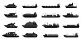 Set of commercial cargo ships. Sea transportation vehicle. Transport boat.