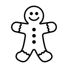 Gingerbread man holiday biscuit or cookie line art vector icon for food apps and websites