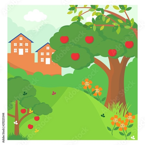 Fotobehang Lime groen apple tree forest jungle panorama scenery landscape background
