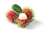 group of rambutan isolated on white background. - 211228314