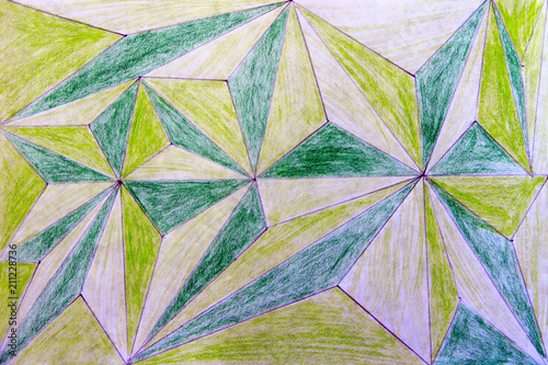 Fototapeta Children's abstract drawing drawn in pencil from geometric figures of green and light green color