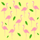 Vector pattern with pink flamingo and  tropical leaves  on yellow background.  Tropical flamingo pattern. Stock vector. Vector illustration EPS10.