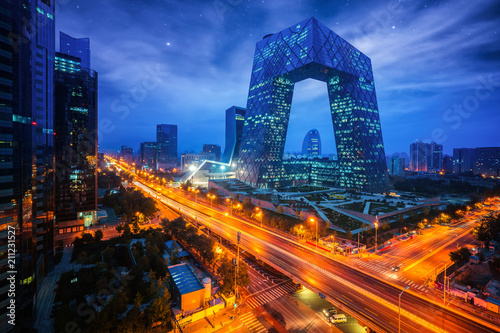 Foto Spatwand Peking Night cityscape with bilding and road in Beijing city