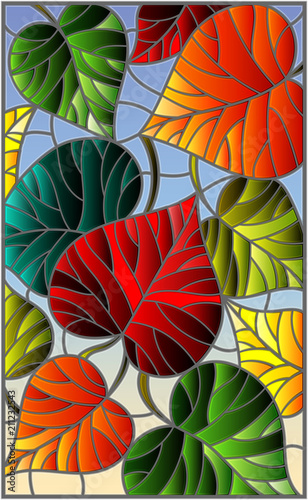 illustration-in-stained-glass-style-with-colorful-leaves-on-sky-background