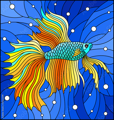 illustration-in-stained-glass-style-with-yellow-fighting-fish-on-the-background-of-water-and-air-bubbles