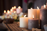 Spa setting with aromatic candles