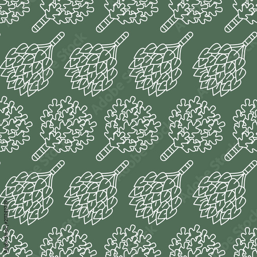 Sauna, steam bath room seamless pattern with line icons. Bathroom equipment birch, oak brooms. Finnish, russian banya. Health care green background for spa center. - 211242709
