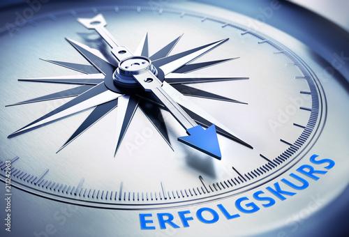Leinwandbild Motiv Kompass Silber Erfolgskurs blau