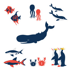 Australian marine wild animals, vector cartoon illustration fish, blue whale, octopus, red crab, shark, dolphin, colorful penguin isolated on white, decorative cute set for design zoo, sea pattern © m_e_l