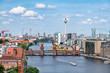 Berlin Luftaufnahme mit Oberbaumbrücke und Fernsehturm