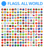 All World Flags - New 2018 - Vector Round Flat Icons. New versions of Afghanistan and Mauritania flags and Additional List of Other States - 211268580