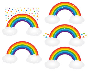 Beautiful starry rainbows illustrations. Vector icons set.