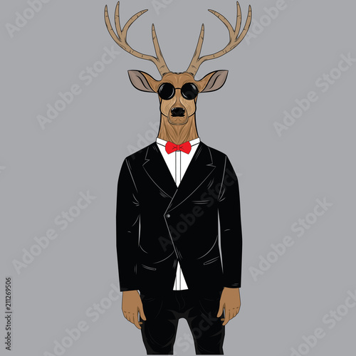 Fotobehang Hipster Hert Deer dressed up in tuxedo with glasses