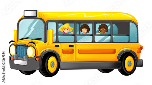 funny looking cartoon yellow bus with pupils - illustration for children - 211269554