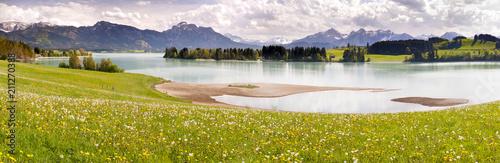 Fototapeta Panorama Landschaft im Allgäu in Bayern am Forggensee