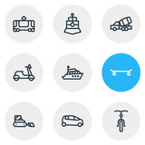 Vector illustration of 9 transport icons line style. Editable set of yacht, snow removal car, train and other icon elements.