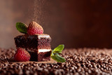 Closeup of chocolate cake with raspberry and mint . - 211275187