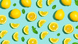 Quadro Fresh lemon pattern on a bright color background flat lay