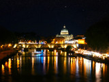Basilique St-Pierre - Pont St-Ange - Reflet Tibre de nuit - Rome Vatican