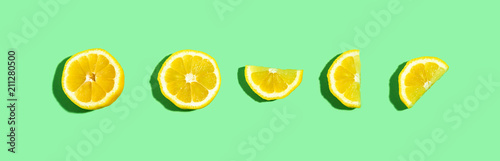 Fresh lemon pattern on a bright color background flat lay - 211280500