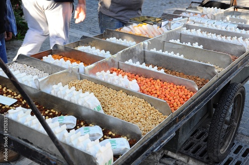 Colorful nuts for sale in Athens, Greece