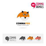 Fox animal concept icon set and modern brand identity logo template and app symbol based on comma sign