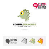 Seahorse animal concept icon set and modern brand identity logo template and app symbol based on comma sign