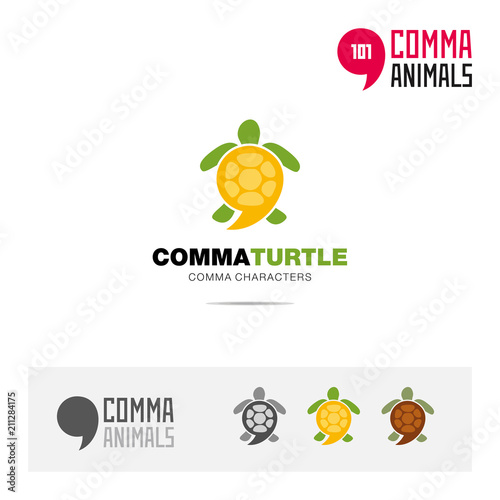 Turtle animal concept icon set and modern brand identity logo template and app symbol based on comma sign