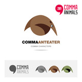 Anteater animal concept icon set and modern brand identity logo template and app symbol based on comma sign
