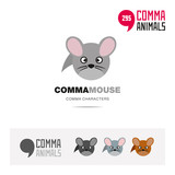 Common field mouse animal concept icon set and modern brand identity logo template and app symbol based on comma sign