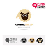 Sheep animal concept icon set and modern brand identity logo template and app symbol based on comma sign